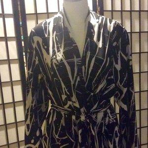 Peter Nygard  Black & White Faux Wrap Dress -2X